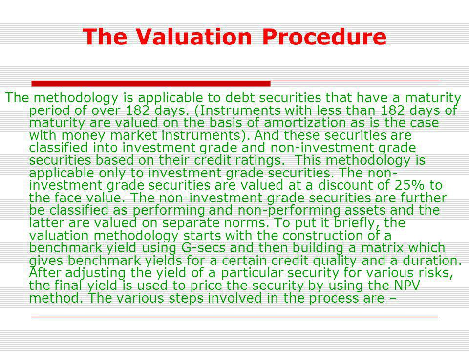 The Valuation Procedure