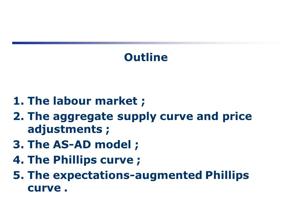 Outline The labour market ; The aggregate supply curve and price adjustments ; The AS-AD model ; The Phillips curve ;