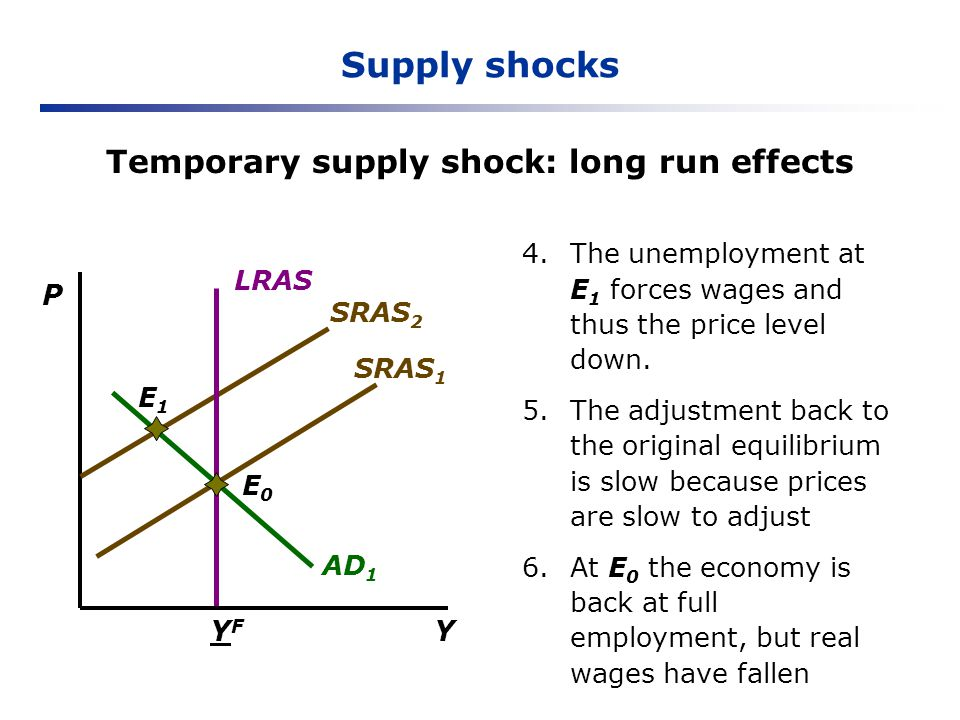 Temporary supply shock: long run effects