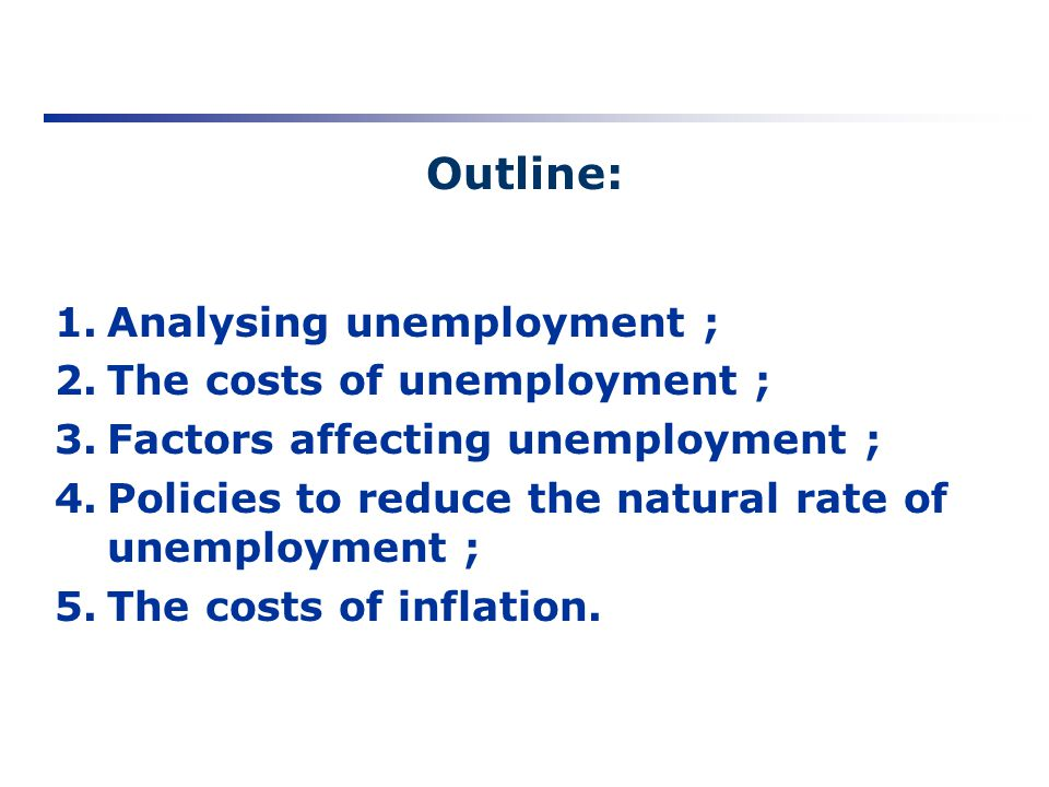Outline: Analysing unemployment ; The costs of unemployment ;