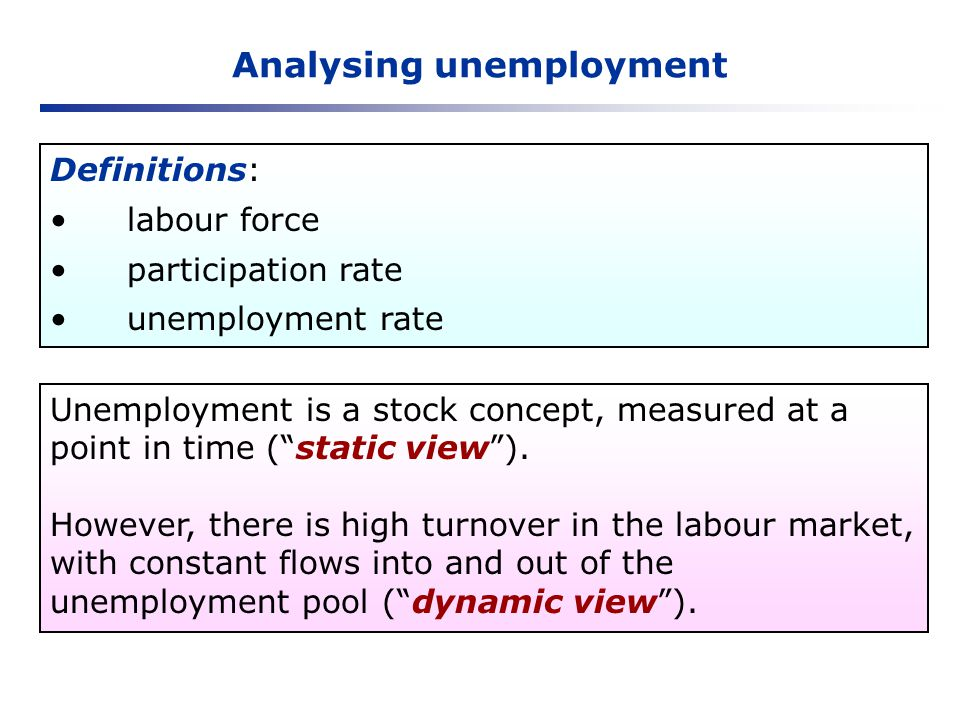 Analysing unemployment