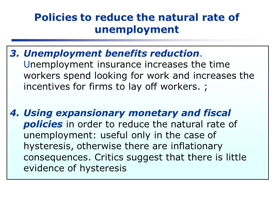 Policies to reduce the natural rate of unemployment
