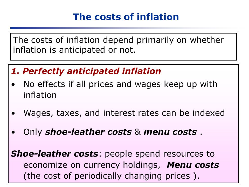 The costs of inflation The costs of inflation depend primarily on whether inflation is anticipated or not.
