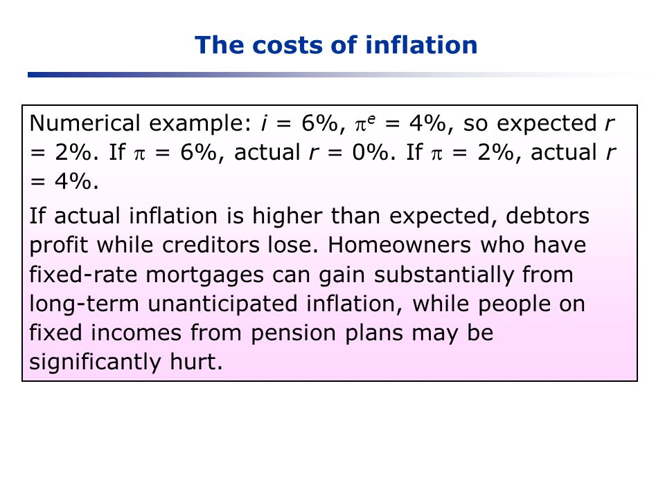 The costs of inflation Numerical example: i = 6%, e = 4%, so expected r = 2%. If  = 6%, actual r = 0%. If  = 2%, actual r = 4%.