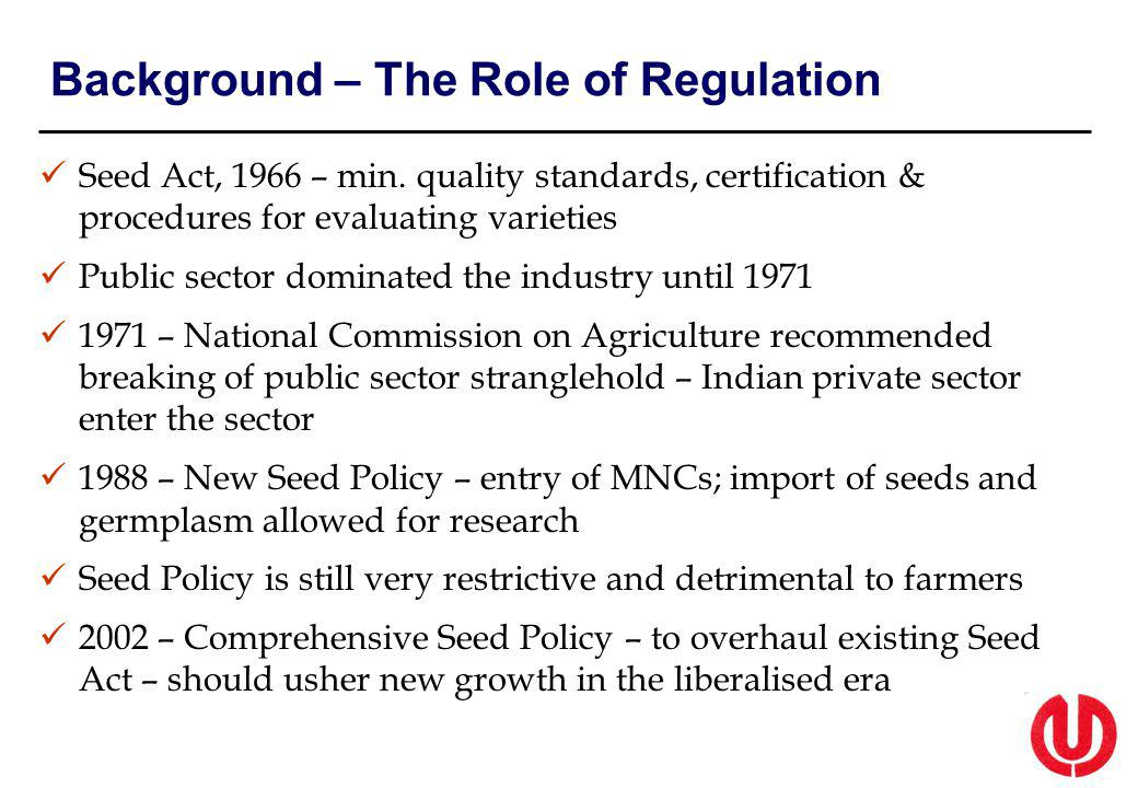 Background – The Role of Regulation