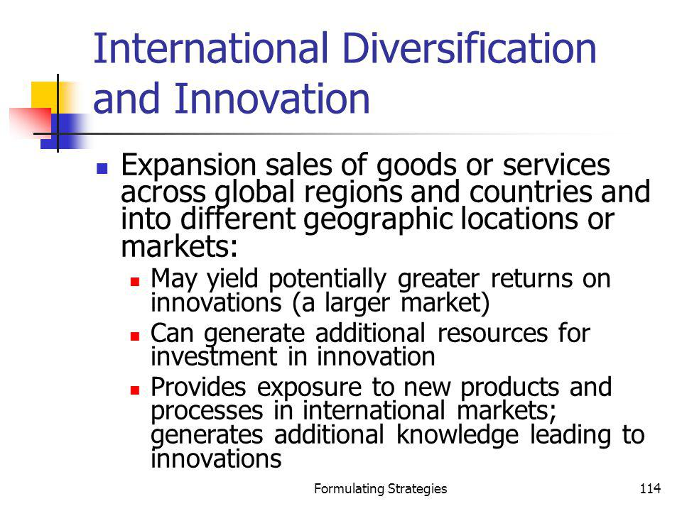 International Diversification and Innovation