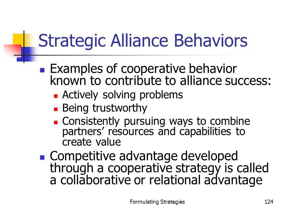 Strategic Alliance Behaviors
