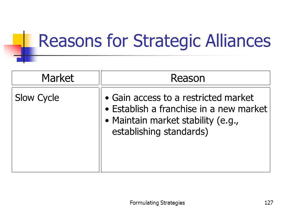 Reasons for Strategic Alliances