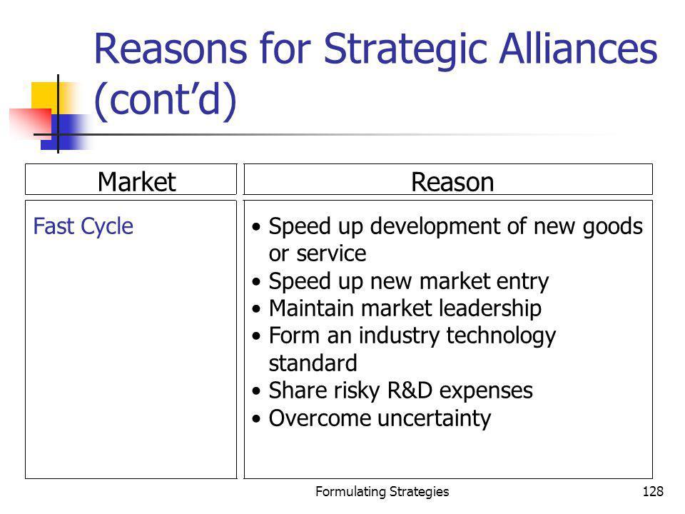 Reasons for Strategic Alliances (cont'd)