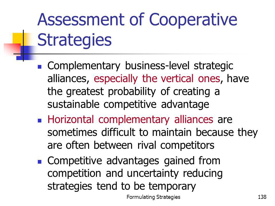 Assessment of Cooperative Strategies