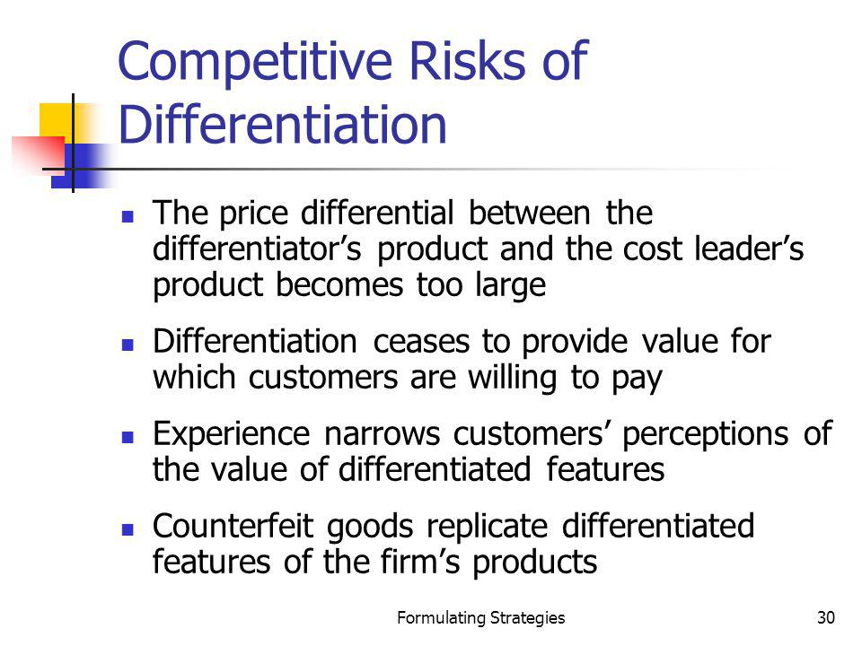 Competitive Risks of Differentiation