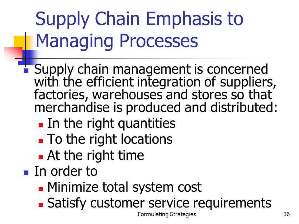 Supply Chain Emphasis to Managing Processes