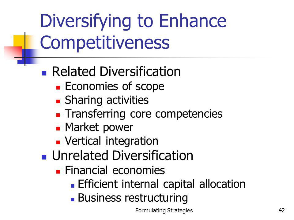Diversifying to Enhance Competitiveness