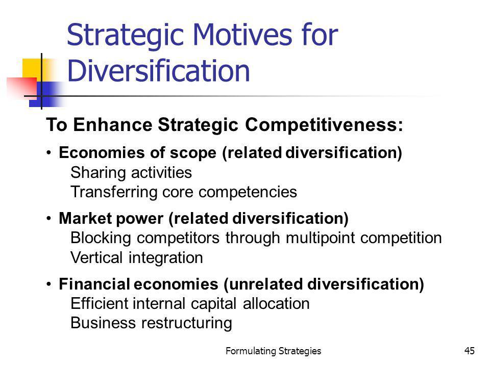 Strategic Motives for Diversification
