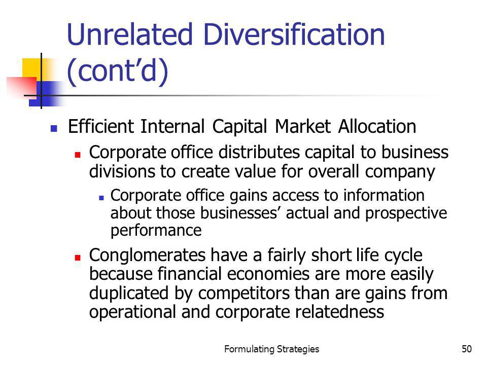 Unrelated Diversification (cont'd)