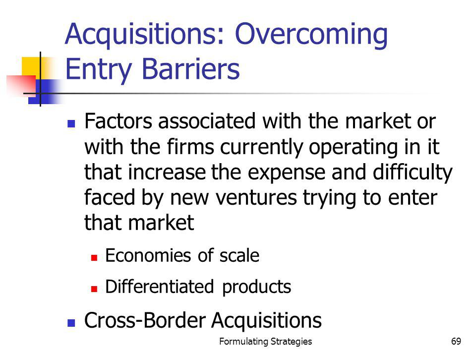 Acquisitions: Overcoming Entry Barriers