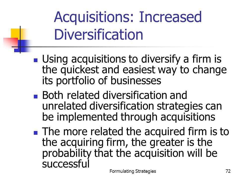 Acquisitions: Increased Diversification