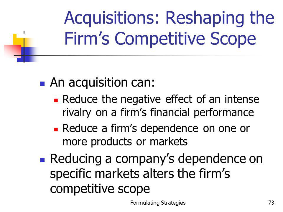Acquisitions: Reshaping the Firm's Competitive Scope