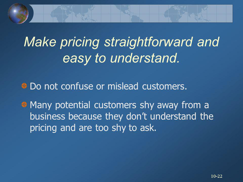 Make pricing straightforward and easy to understand.