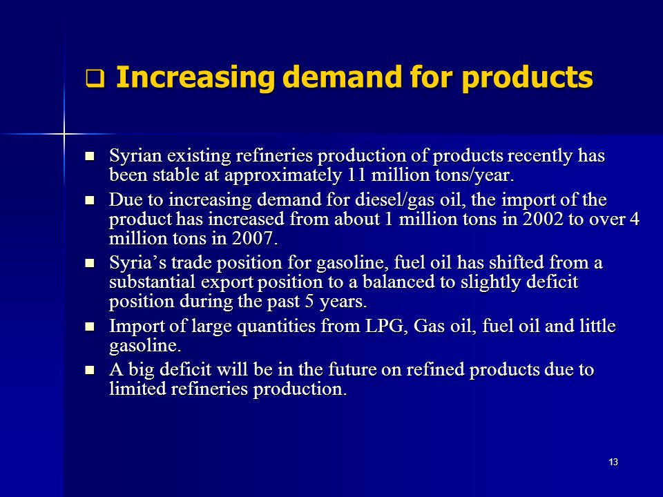 Increasing demand for products