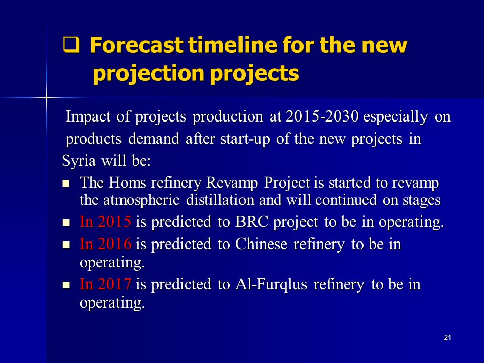 Forecast timeline for the new projection projects