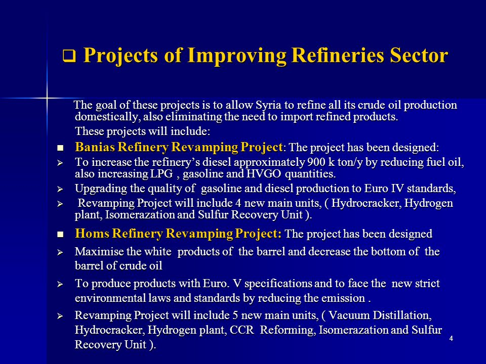 Projects of Improving Refineries Sector