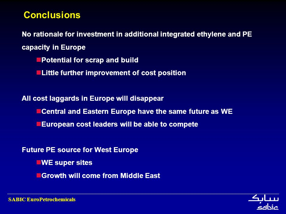 Conclusions No rationale for investment in additional integrated ethylene and PE capacity in Europe.