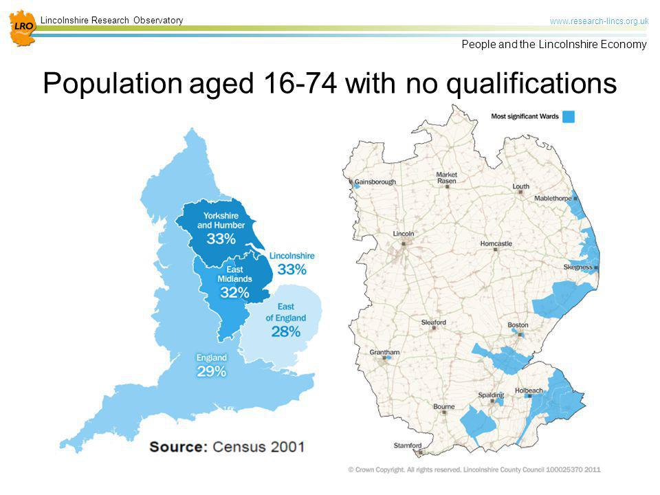 Population aged 16-74 with no qualifications