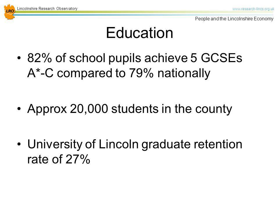 Education 82% of school pupils achieve 5 GCSEs A*-C compared to 79% nationally. Approx 20,000 students in the county.