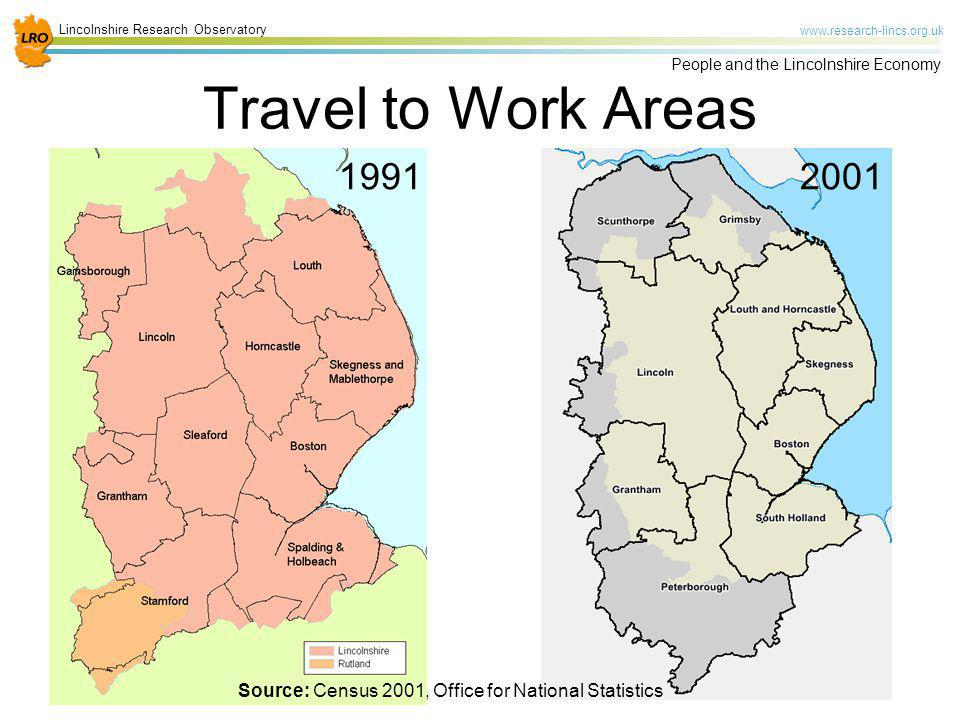 Travel to Work Areas 1991. 2001.