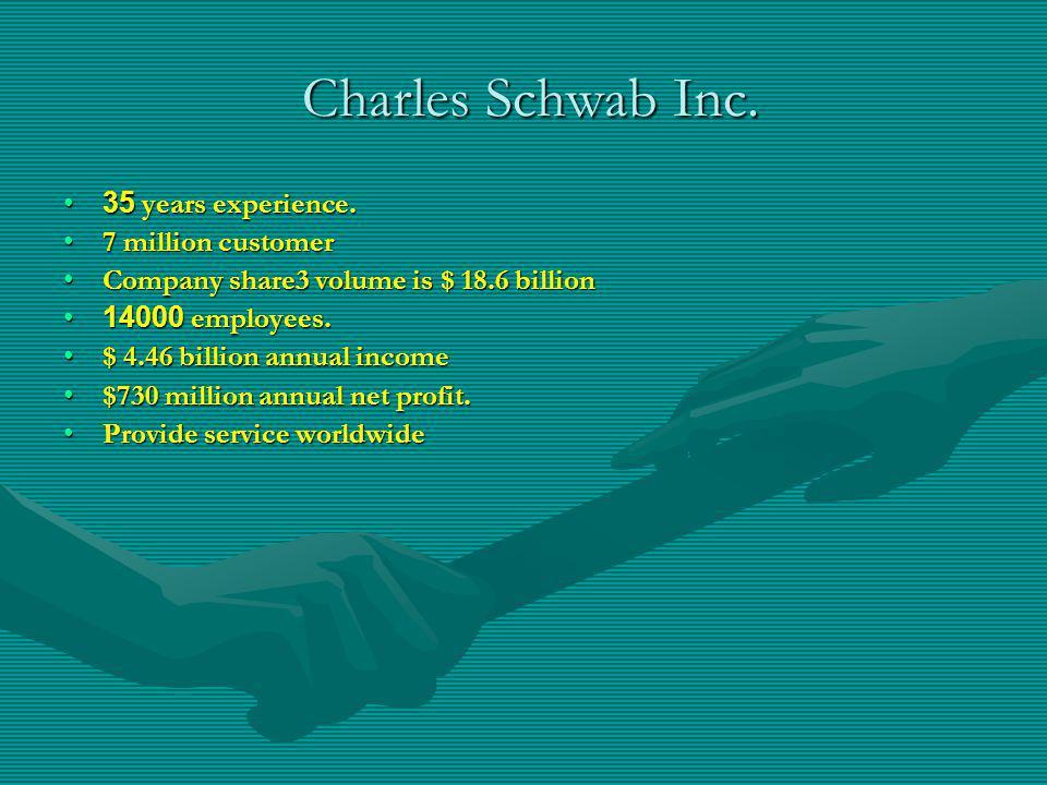 Charles Schwab Inc. 35 years experience. 7 million customer