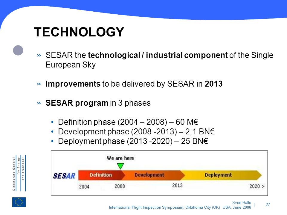 TECHNOLOGY SESAR the technological / industrial component of the Single European Sky. Improvements to be delivered by SESAR in 2013.