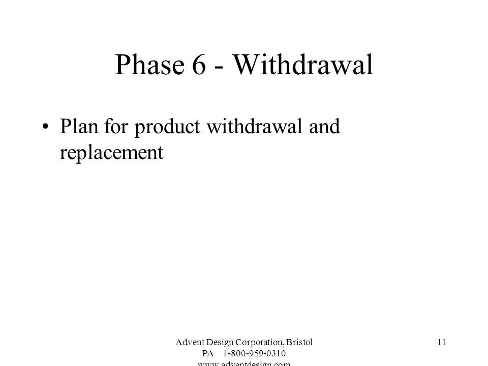 Phase 6 - Withdrawal Plan for product withdrawal and replacement