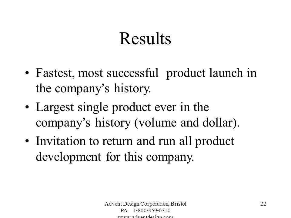 Results Fastest, most successful product launch in the company's history. Largest single product ever in the company's history (volume and dollar).