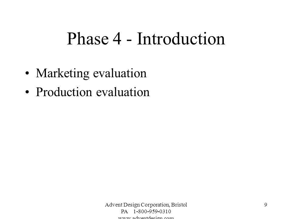 Phase 4 - Introduction Marketing evaluation Production evaluation