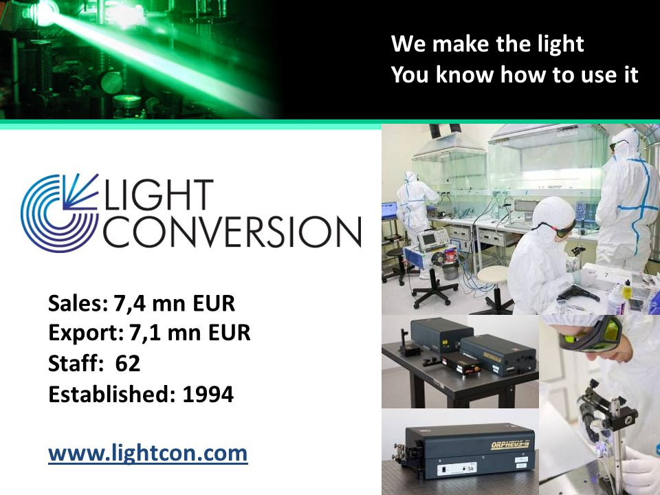 We make the light You know how to use it. Sales: 7,4 mn EUR. Export: 7,1 mn EUR. Staff: 62. Established: