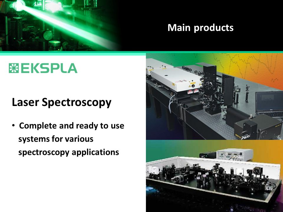 Laser Spectroscopy Main products Complete and ready to use