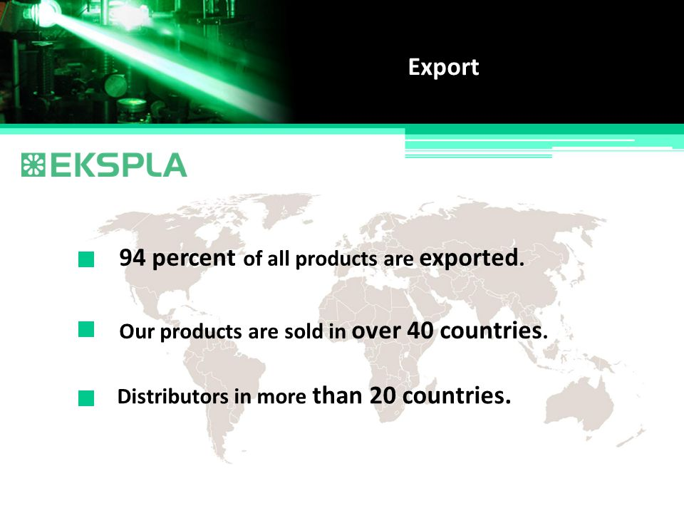 94 percent of all products are exported.