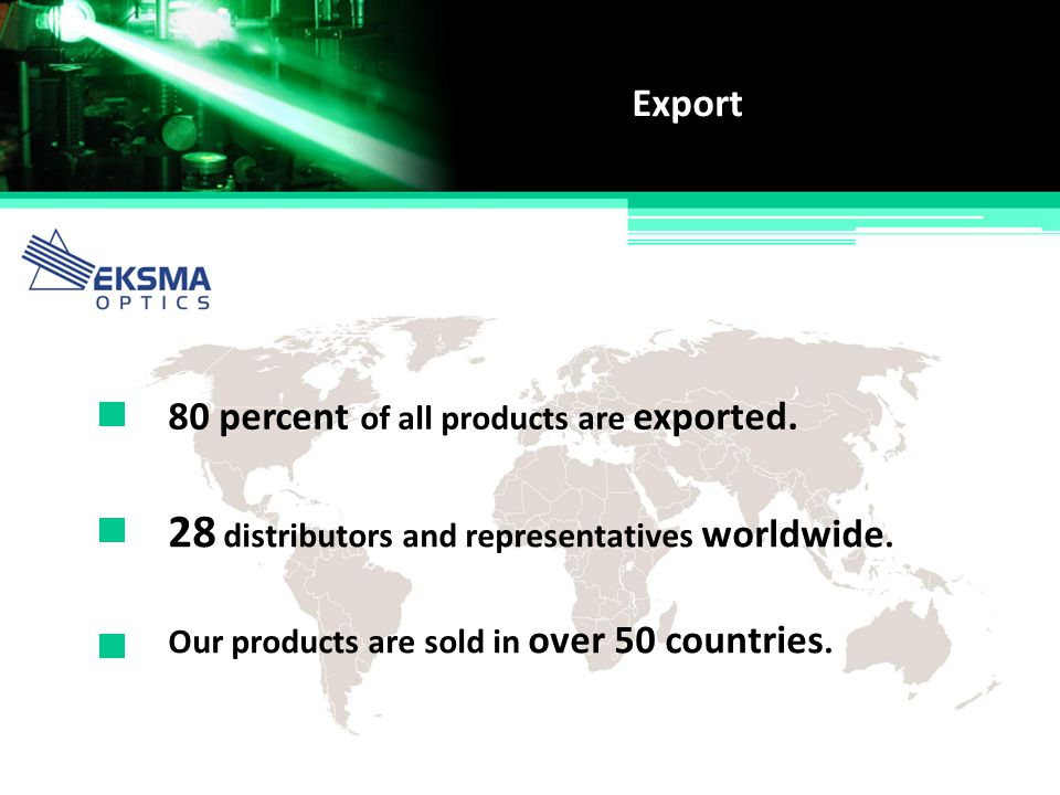 28 distributors and representatives worldwide.