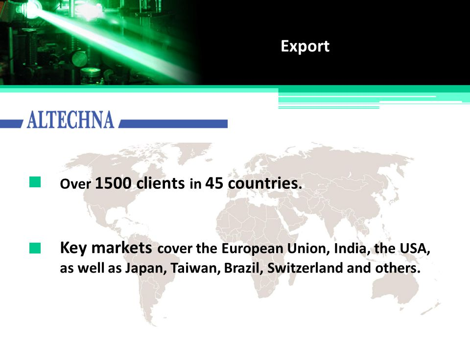 Key markets cover the European Union, India, the USA,