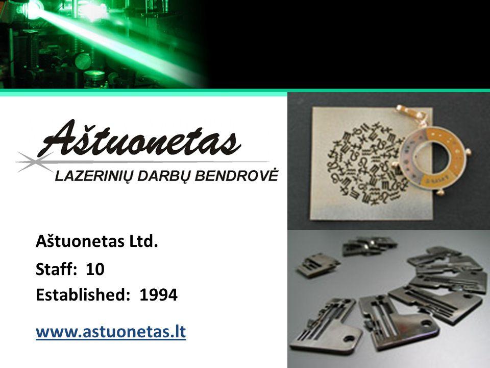 Aštuonetas Ltd. Staff: 10 Established: 1994 www.astuonetas.lt