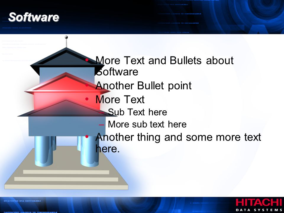 Software More Text and Bullets about Software Another Bullet point