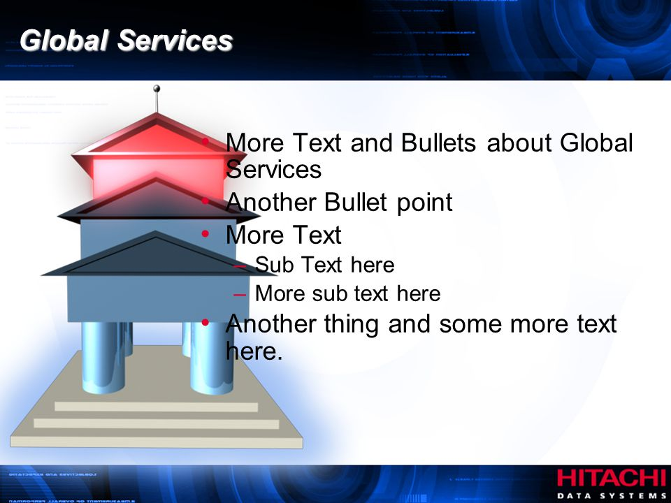 Global Services More Text and Bullets about Global Services