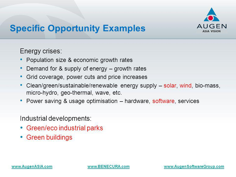 Specific Opportunity Examples (cont.)