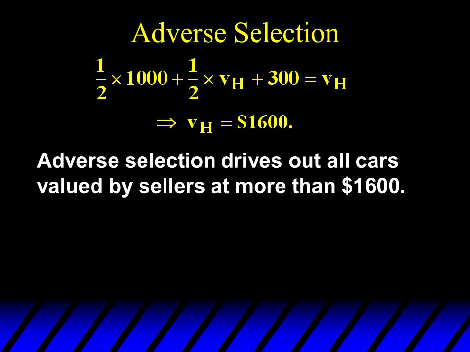 Adverse Selection Adverse selection drives out all cars