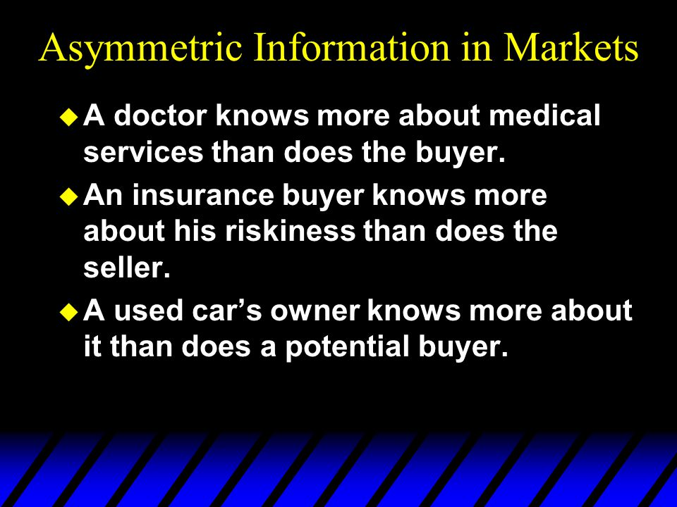 asymmetric information definition Condition in which at least some relevant information is known to some but not all parties involved information asymmetry causes markets to become inefficient, since all the market participants do not have access to the information they need for their decision making processes opposite of information symmetry.