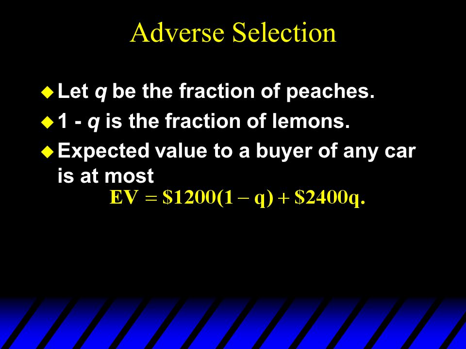 Adverse Selection Let q be the fraction of peaches.