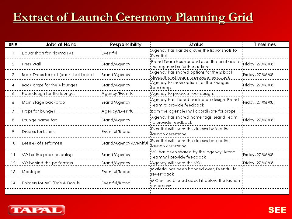 Extract of Launch Ceremony Planning Grid