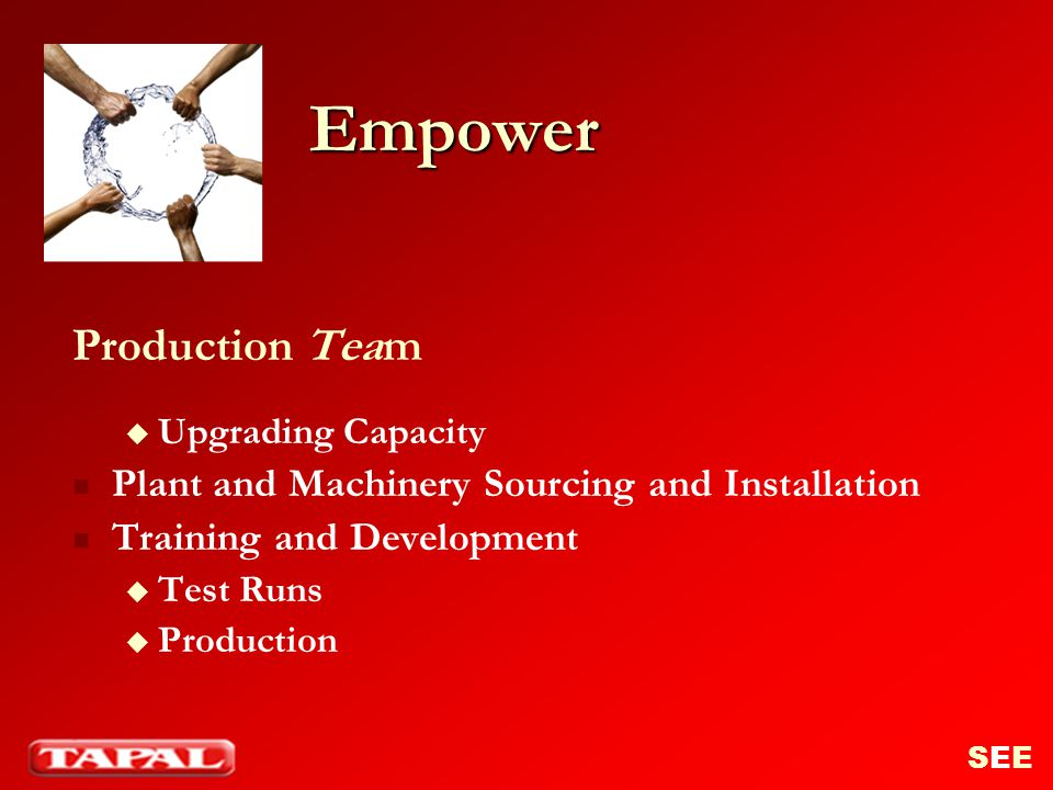 Empower Production Team Plant and Machinery Sourcing and Installation