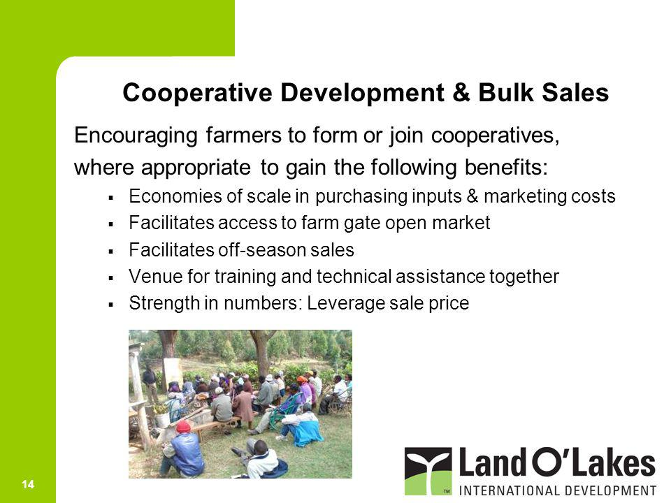 Cooperative Development & Bulk Sales